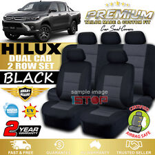 BLACK CUSTOM FIT SEAT COVERS for TOYOTA HILUX SR SR5 DUAL CAB 7/2015-2018 GEN 8