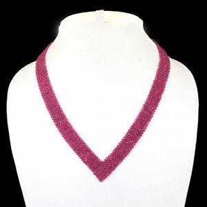 """18"""" Natural Ruby Necklace Facetted Beads 925 Sterling Silver Clasp"""