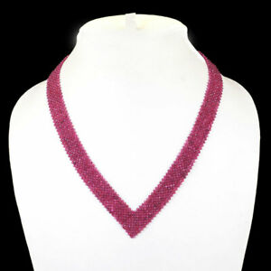 "18"" Natural Ruby Necklace Facetted Beads 925 Sterling Silver Clasp"