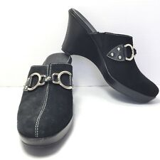 Women's COLE HAAN Black Horse Bit Suede Clogs Mules Size 7.5 B