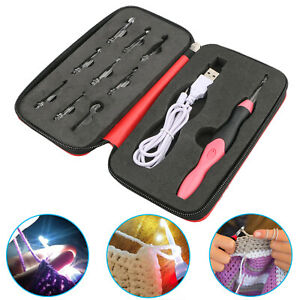 9 in 1 USB LED Light Up Crochet Hooks Knitting Needles Weave Sewing Tools Set