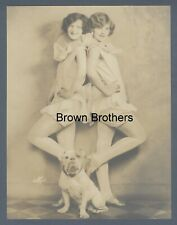 1920s Vaudeville George Sisters Phyllis Doris Bulldog Oversized DBW Photo White