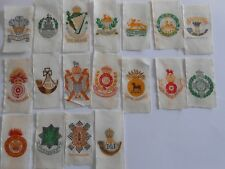 18   different  military cap badge woven   silks   small format cigarette