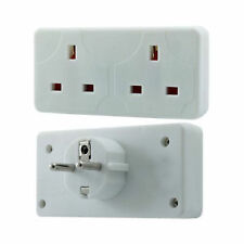 Two -Way European Travel Adaptor 2 Pin Euro EU Style To Double 3 Pin UK Socket