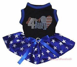 Rhinestone USA Flag Heart 4th July Black Top Blue Star Pet Dog Puppy Cat Dress