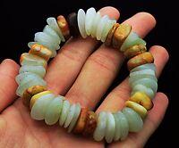 Chinese natural ancient old hetian jade jadeite handcarved pendant bracelet