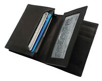 Mens Premium Leather Expandable Business Card Holder Credit Card Wallet Black