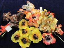 "Vintage Millinery Flower Collection Brown Orange Yellow 1 1/2-3"" German H2963"