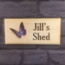 Personalised Purple Butterfly Plaque / Sign / Gift - Mum Nan Shed Garden Nanny
