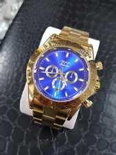 Orologio Polso Zcc Uomo Automatico Cronografo Elegante Oro Fondo Blu lac