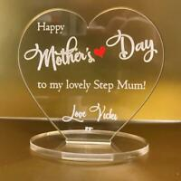 Personalised happy mothers day mother's day step mum engraved heart plaque gift