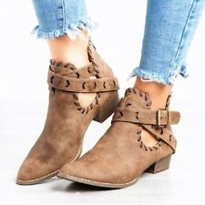 Womens Low Block Heels Ankle Riding Boots Vintage Pointed Toe Buckle Strap Shoes