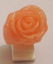 bague imposante couleur rose fleur relief résine moulée taille 58