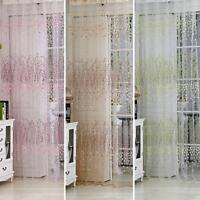 New Home Floral Tulle Voile Door Window Curtain Room Valances Drape Panel Sheer
