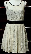 BNWT NEXT Ladies Cream beige Lace Dress satin trim and underslip Size 10