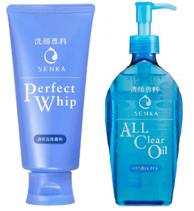 Shiseido SENKA Perfect Whip Face Wash 120g + All Clear Oil Make Up Remover 230ml