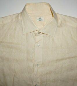 Borrelli Napoli 100% Linen Yellow Shirt Size 16 1/2 EU 42 Made in Italy