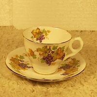 Vintage Royal Stafford Bone China Oregon Grapes Tea Cup & Saucer Set England