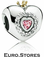 Pandora 791375PCZ Pink Princess Heart Silver & 14K Gold Charm Genuine New