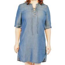 Philosophy Front Lace Up Tencel Lyocell Denim Jean Shift Dress choose colors sz