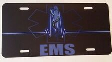 EMS LICENSE PLATE AUTO TAG 6 X 12 ALUMINUM NOVELTY TAG (SUPPORT THE EMS)