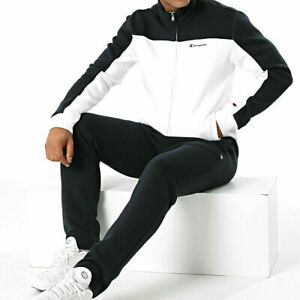 Champion Men Tracksuit Full Zip Athletic Gym Casual Black/White New 216689-WW001