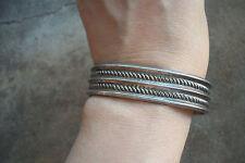 ROPE CUFF bracelet Hopi Zuni Native American sterling 1950 Modernist Indian