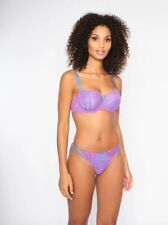 NEW! Ann Summers SEXY LACE Balcony BRA + THONG set, Purple/Blue *NEW* RRP£21