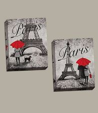 "NEW Set of 2 Stretched Canvas Strolling Paris France Eiffel Red Umbrella 11""x14"""