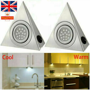 3.5W Led Mains Kitchen Under Cabinet Cupboard Triangle Light Kit Cool Warm White
