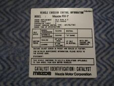 1984 MAZDA RX7 CARB EMISSION AT DECAL