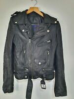 Drawing Ladies Black Real Leather Biker Jacket Size 8 Fitted Bomber Distressed
