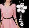 Damen Halskette Schmuck Collier Anhänger Silber lang Kette Mode Strass Luxus 40€