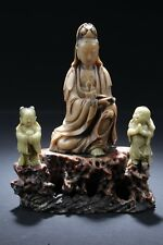 Antique Chinese Carved Soapstone Guanyin