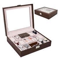 12 Grid Watch Box Glass Top Display Jewelry Organizer Storage Case PU Leather AW