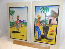 2 R. MALVAL Watercolor Paintings by HAITIAN ARTIST signed originals