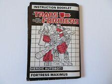 1986 Hasbro Transformers Heroic Autobot Fortress Maximus Instruction Booklet HTF