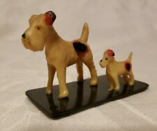 """Vtg Airedale Terrier Dog & Puppy Figurine Japan Celluloid Plastic 1.5"""" Tall Vguc"""