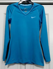 Women's Nike Dri-Fit V-Neck Long Sleeve Fitted Shirt Size S Sky Blue