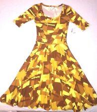 LuLaRoe NICOLE 2XS XXS Gold Geometric Pattern Knee Length Short Sleeve Dress