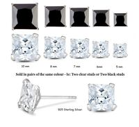925 Sterling Silver CZ Claw Set SQUARE Stud Earrings 5 to 10 mm Clear or Black