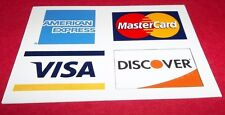 """CREDIT CARD DECAL STICKER Visa MasterCard Discover American Ex 3 3/4"""" X 2 3/4"""""""