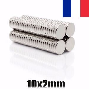 Lot Aimant Neodyme Neodium Disque Rond Fort Puissant Super Magne 10mm X 2mm