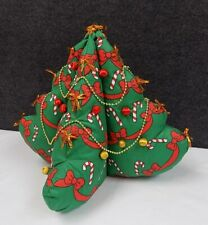 Vintage Stuffed QUILTED Look Xmas Print FABRIC Plush CHRISTMAS TREE Hand Made