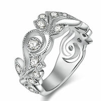 Flower Wedding Band Eternity Ring Engagement 925 Sterling Silver White AAA Cz