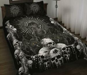 Skull Goth Occult Crow Bat Wing Demon Cat Quilt Bed Set