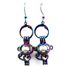Rainbow Color Monkey Pearl Cage Earrings Hooks with 8mm Plastic Beads /Z70