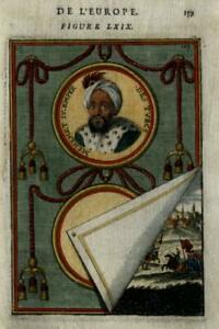 Mehmed IV Ottoman Sultan Jannisaries Medallion Portrait 1683 Mallet print