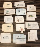 Lot UNUSED vintage greeting cards, Nister, Harmony, Rust Craft all w/ envelopes