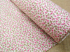 FLORAL PRINT COTTON FABRIC +++ ROSEBUDS + PINK